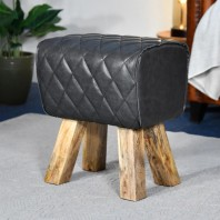 'The Yale' Mango Wood & Black Leather Stool