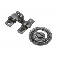 Traditional Black Iron Bathroom Privacy Bolt Set - Supplied With Vacant and Engaged Indicator