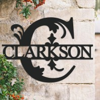 Traditional Personalised Monogram House Name Sign - Letter C