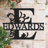 Traditional Personalised Monogram House Name Sign - Letter E