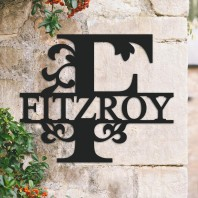 Traditional Personalised Monogram House Name Sign - Letter F