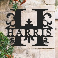Traditional Personalised Monogram House Name Sign - Letter H