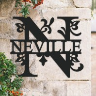 Traditional Personalised Monogram House Name Sign - Letter N
