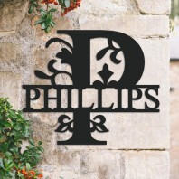 Traditional Personalised Monogram House Name Sign - Letter P