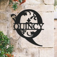 Traditional Personalised Monogram House Name Sign - Letter Q