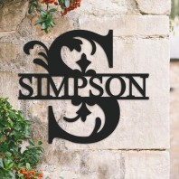 Traditional Personalised Monogram House Name Sign - Letter S