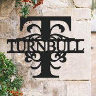 Traditional Personalised Monogram House Name Sign - Letter T