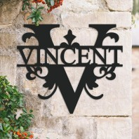 Traditional Personalised Monogram House Name Sign - Letter V