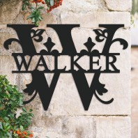 Traditional Personalised Monogram House Name Sign - Letter W