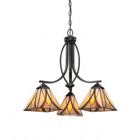 """""""Bloomchester"""" Traditional Amber Glass Tiffany Style Hanging Light"""