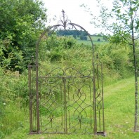 Traditional Rustic Scrolled Rose Arch Gates