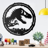 T-Rex Circular Wall Art - Black