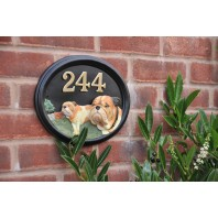 """Tyson"" Bulldog House Number Sign Hand Painted"