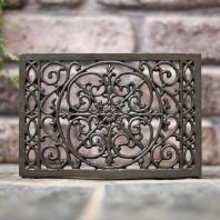 """'Fleur-De-Lys' 9.25"""" x 6.5"""" Ornate Cast Iron Air Brick"""