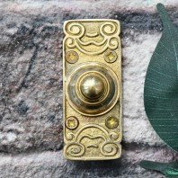 Ornate Polished Brass Door Bell Push