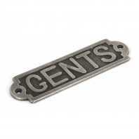 Antique Pewter Solid Brass Bathroom Sign or Push Plate – 'Gents'