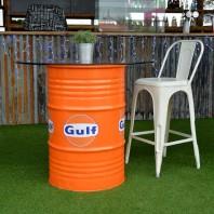 "Orange ""Gulf"" Barrel Table"