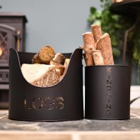 Modern Kindling and Log Basket Set