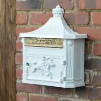 """Frostine"" White Huntington Wall Mounted Post Box"