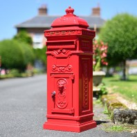 """Cherrywood Blush"" Red Camden Free Standing Post Box"