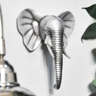 Silver Elephant Head Wall Art - 21cm