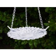 Rustic White Sunflower Bird Bath or Bird Feeder