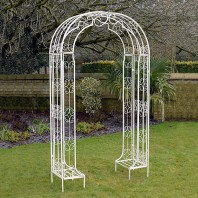 """Amelie"" Ornate Cream Garden Rose Arch"