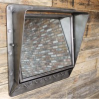 Industrial Mirror with Hooks