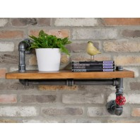 Chunky Industrial Wooden & Iron Pipe Shelf