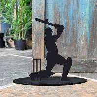 Cricket Player Iron Door Stop