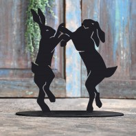 Boxing Hares Iron Door Stop
