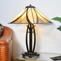 """Coltmoore"" Dark Bronze Tiffany Lamp with Orange Glass Shade"