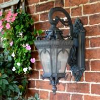 """""""Cotswold"""" Large Ornate Bronze Top Fix Wall Lantern"""