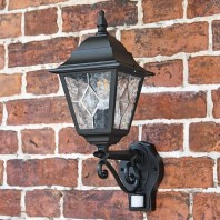 """Avebury Manor"" Traditional Black Wall Lantern With PIR Sensor"