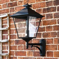 """Brooksby"" Large Black Simplistic Victorian Wall Lantern"