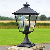 """Brooksby"" Black Simplistic Victorian Pillar Light 64cm"