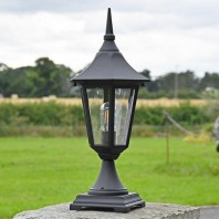 """Lynnewood"" Traditional Black Arched Base Pillar Light 56cm"