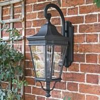"""Bramford Bank"" Large Black Three Light Ornate Wall Lantern"