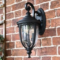 """Winsford"" Medium Traditional Top Fix Black Wall Lantern"
