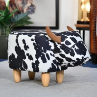 Belle the Black & White Cow Foot Stool