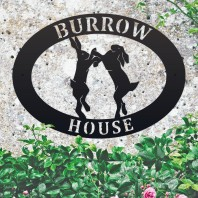 Boxing Hares Iron Oval House Sign