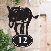 Donkey Iron House Number Sign