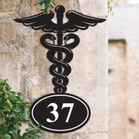 Doctors Medical Iron House Number Sign