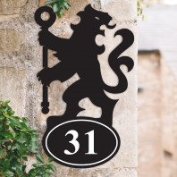 Lion & Staff Iron House Number Sign