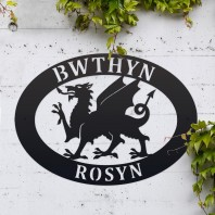 Black 'Welsh Dragon' Iron Oval House Sign
