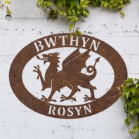 Rustic 'Welsh Dragon' Iron Oval House Sign