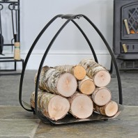 Black Arched Log Rack with Pewter Base