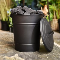 Black Fireside Kindling or Ash Bucket with Lid