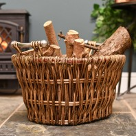 Aged Wicker Log Basket with Metal Handles