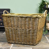 Natural Finish Wicker Log Basket